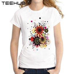 fiore m Sconti Tee donna 2018 Blossom T-shirt donna Estate Fashion Lady Top manica corta fiori stampato T Shirt Novità Tee Shirts