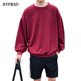 Мужской корейский пуловер онлайн-2018 Spring New Plain Oversized Hoodie Sweatshirt Men Korean Couple Casual Pullover Harajuku Streetwear Hooded Sweatshirts Top