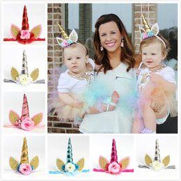 Wholesale Sparkle Elastic Headband - Hot Baby Girls Unicorn Headbands 6 colors Sparkle Ornaments Hair Rope Band Party Knitted Elastic Headband xmas Princess Birthday Hairband