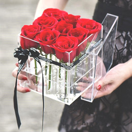 caixa de luxo artesanal Desconto Moda Simplicidade 9 Furos Acrílico Transparente Rose Flor Caixa De Luxo Artesanal Caixa De Presente Vaso