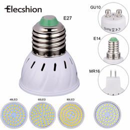 Wholesale Mr16 Led Blue 12v - LED light E27 E14 MR16 GU10 bulb AC220V SMD 2835 lampada 48 60 80pcs LED Spotlight 3W 5W 7W bulbs tubes downlight headlamp