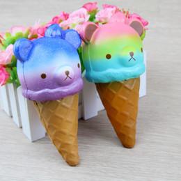 2019 regalos de rilakkuma Squishy Jumbo 14cm Kawaii Squishy Colorful Rilakkuma Yummy Bear / Panda Ice Cream Súper Lentamente Creciente Correa Squeeze Bread Cake Juguete Regalo XB regalos de rilakkuma baratos