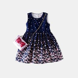 Wholesale girls pure cotton flowered dresses - baby girl wholesale Girl Full-blown Flowers Vest Skirt 2018 Spring Children Baby Pure Cotton Dress Princess size 90-130