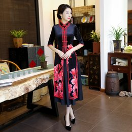 2019 vintage cheongsam китайское платье YZ Black Chinese Vintage Print Flower Slim Dress Women Velvet Sexy Long Cheongsam Oversized 4XL Vietnam Aodai 2PCS Qipao скидка vintage cheongsam китайское платье