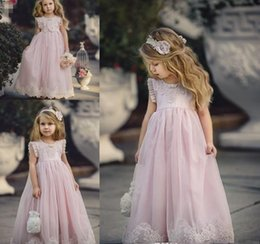 Wholesale Toddler Princess Dresses Cheap - 2018 Cheap Lovely Pink Jewel Neck Long Lace Boho Flower Girl Dresses Daughter Toddler Pretty Kids Pageant First Holy Communion Gown