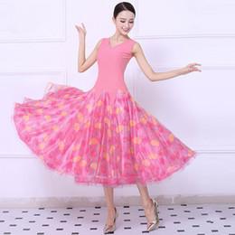 Rosa rosette blumenmädchen kleider online-Rosa Erwachsener / Mädchen-Ballsaal-Tanz-Kleid-moderner Walzer-Standardwettbewerbs-Tanz-Kleid Sexy V-Kragen-Blumendruck Sleeveles Kleid kann Gewohnheit sein