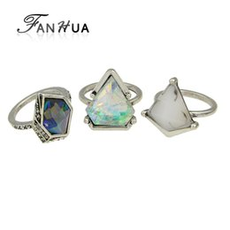 Wholesale Natural Blue Stone Rings - FANHUA 3pcs set Boho Style Anel Antique Silver Color Geometric Green Blue Natural Stone Finger Rings sets for Women