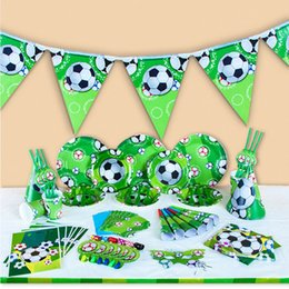 Wholesale football parties - Kids World Cup Sports Football Theme Birthday Party Supplies Tableware Set Napkin Cups Tablecloth Flag Kids Favor Christmas Toy OOA4912
