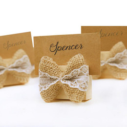 Wholesale Wedding Card Themes - Rustic Theme Burlap Bow Place Card Holder Wooden Table Card Holder Burlap Wedding Decor Supplie Party Gifts F20173113