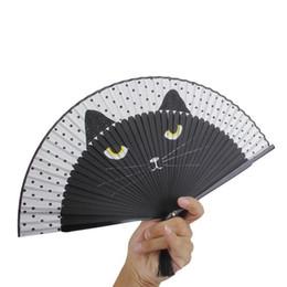 Wholesale Handheld Folding Fans - Women Cartoon Cat Folding Silk Fan Handheld Fan Black Hollow Out Hand Folding Fans Outdoor Dancing Wedding Party Favor