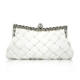 Wholesale Evening Satin Clutch Bag - Wholesale-IMC Elegant Ladies White Satin Bridal Evening Prom Clutch Handbag Purse Gift