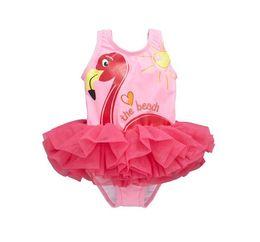 Wholesale Tutu Swimsuits - New Baby Girls Swimsuit Cartoon Swan Kids Swimwear Summer Animal Lace Tutu One Piece parrot Swimming flamingos Children Beachwear pink A9004