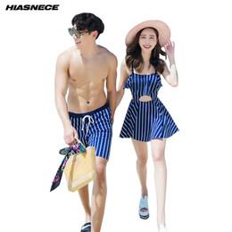Wholesale couples swimwear - couples swimwear women one piece swimsuit dress mens beach short trunks blue striped 2018 new lover's beach wear bathing suits