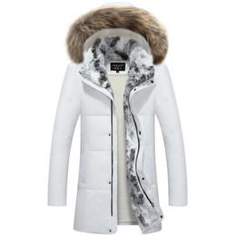 Argentina 2019 2019 nuevos hombres chaqueta blanca con capucha de adorno de piel de mapache 100% invierno cálido sobre tamaño outwear Suministro