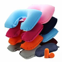 Wholesale Travel Pillow Eye Mask Set - U Shape Travel Pillow+Eye Mask+Ear Plug Travel Set Soft Inflatable Pillow Double Layer Neck Support Protection Pillow