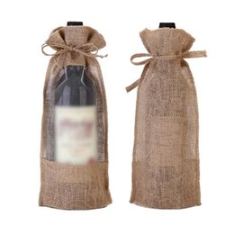 Wholesale Transparent Pouch Gift - 16*32cm Transparent Champagne Bottle Covers Jute Wine Bottle Bags Gift Pouches for Christmas Party CCA8807 100pcs