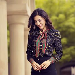 2018 blusa de las mujeres Chiffion oficina camisa manga larga impreso blusas Casual primavera otoño trabajo desgaste camisas Top Plus Size Talever desde fabricantes