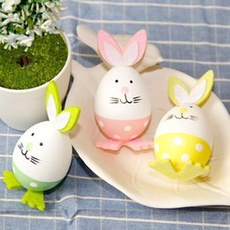 Wholesale Painted Gifts - Easter small toys Bunny Egg DIY plastic painting craft ornaments birthday gifts children's educational toys Bunny Egg Set