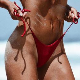 2019 heißesten string bikinis Sommer-heiße Frauen-Badebekleidungs-brasilianische unverschämte Bikini-untere Seiten-Schnur-Bindungs-Zapfen-Schwimmen-Badeanzug günstig heißesten string bikinis