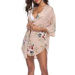 2019 vintage häkelbluse Women Casual Vintage Kimono Cardigan Damen 2018 Sommer Lange Crochet Chiffon Kimono preto Lose Flora gedruckt Bluse Tops Khaki günstig vintage häkelbluse