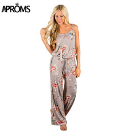 7ebc8f0b8fa2 Aproms Khaki Boho Sweet Floral Print Jumpsuit Romer Women Sexy Strap Bow  Tie Waist Beach Playsuit Overall for Women Clothing