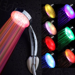 Wholesale Battery Temperature Sensor - Colorful Stainless Steel Round Water Power LED Handheld Temperature Sensor Light Shower Head No Battery Bathroom Accessories