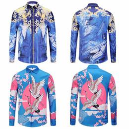 Wholesale Cheap Floral Print Tops - Cheap Medusa Shirts Mens Crane Golden Floral 3D Printed Long Sleeve Colourful Designer Shirt Casual Silk Tshirts Tops Clothes