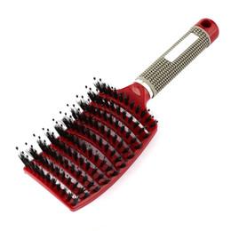 Kopfhautbürsten online-2018 frauen Haar Kopfhaut Massage Kamm Borsten Nylon Haarbürste Nasse Lockige Detangle Haarbürste für Salon Friseur Styling Werkzeuge