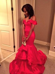 Wholesale Pictures Tires - Sexy Red Mermaid Evening Dresses Off the Shoulder Backless Prom Dress Party Gowns Ruffles Tired Custom Size Evening Dressess Cheap