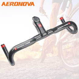 guiador integrado de estrada de carbono Desconto AERONOVA Guiador de Estrada de Carbono Peças de Bicicleta Guiador de Carbono Integrado Com Haste Drop Bar 3K 2018