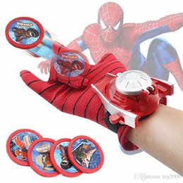 Christmas gloves online-Cosplay Marvel Avengers Super Heroes Guantes Laucher Spiderman Ironman One Size Guante Gants Props Regalo de Navidad para juguetes para niños