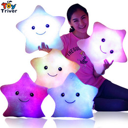 Wholesale Light Up Pillows - LED light-up toys Luminous Five Stars Glow light Pillow Plush Stuffed Doll Party Birthday baby kids Gift Home Living Decoration