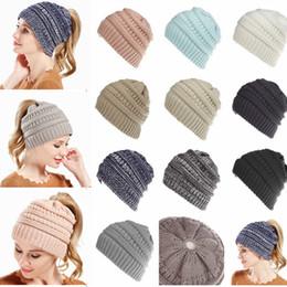 Wholesale girls caps beanies - 10 Colors Women wool Ponytail Beanie Hats Crochet Winter Knitted Skullies Warm Caps Female Knit Messy Bun Girls Hats AAA698