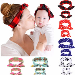 Wholesale Knotted Turban Style Headbands - 2Pc Set DIY Mom Girl Hairband Rabbit Ears Headband Plaid Bow Fashion Style Hair Sticks Turban Knot Headwrap Hair Band Accessories