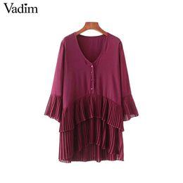 d1eebb7271 Vadim elegant V neck pleated long chiffon blouse long style sleeve sweet shirts  ladies casual chic tops blusas LA178