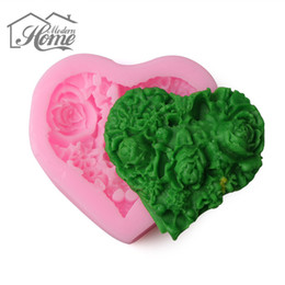 Wholesale Hearts Soap Mold - Wholesale- Heart Rose Flower Shape Silicone Cake Mold Fondant Cake Decorating Tools DIY Soap Chocolate Baking Mold Kitchen Accessories DIY