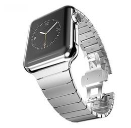 Bracelets de bande de métal en Ligne-Bracelet en acier inoxydable de luxe pour Apple Watch 42mm 38mm Bracelet en métal papillon boucle Bracelet de montre pour iwatch 3/2/1