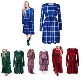 Wholesale Vintage Green Bottles - Plaid Casual Dress Women Long Sleeve Lattice Loose Vintage Mid Dress Fashion Ladies Dresses Maternity Dresses