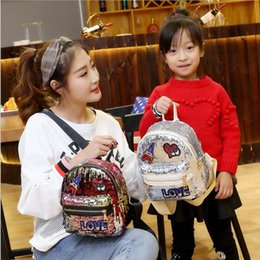 Wholesale Girls Princess Backpack - 2018 New Arrival Women All-match Bag PU Leather Sequins Backpack Girls Small Travel Princess Bling Backpacks 5 Colors Free Shipping