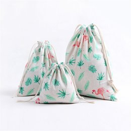 Wholesale cloth tea bag - 3 Size Fresh Handmade Drawstring Cotton Linen Storage Bag Tea candy key Jewelry Organizer Makeup Cosmetic Coins Small Cloth Bag