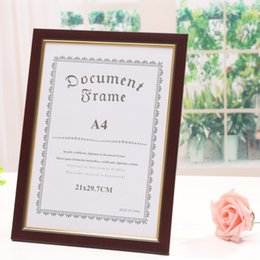 Wholesale Photo Frame Styles - Document frames Rectangle Burgundy PS foam photo Imitation wood A4 certificate box certificate file business license box Report
