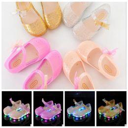 Wholesale led bow lights - kids girls LED Light Shoes sandals bow girl sandals led lights shoes Sandals Cute Butterfly Toddler Summer beach shoes KKA4397