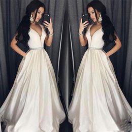 Canada Elegant Plus Size Robes De Bal A-Line-paroleed Long Longueur Robe De Soirée Robe De Soirée Perles Ceinture Robe De Soirée Offre