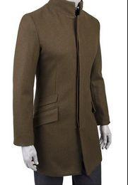 Мужская куртка из черной шерсти онлайн-2017 зеленый коричневый черный корейский подросток стенд воротник шерстяное пальто мужчины тренч куртки мужские шерстяные пальто пальто зимнее платье S - 3XL