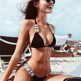 Strass Badeanzug 2019 neues Angebot Crystal Diamond Bikini Set DIY Metallkette Badebekleidung Luxus Aristocratic Beachwear 0004 von Fabrikanten