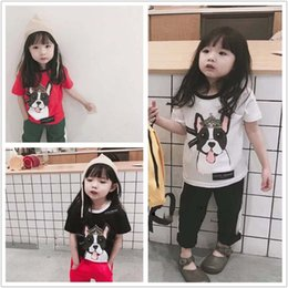 Wholesale Dog Girl Clothing - 2018 Summer new cute Cartoon dog Children T Shirts boys girls T-Shirt Cotton Short Sleeve T Shirt kids Tops Kids Shirts kids clothing A1639