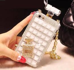 cubierta de samsung j2 Rebajas Caso botella de perfume de la manera del diamante con la caja de la cuerda de seguridad de la cadena de teléfono para el iphone 6 7 8plus x XR Xsmax 11 11 11 Pro Pro Max Samsung S10