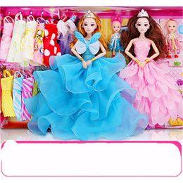 Wholesale fashion doll clothing - Dress Up Barbie Dolly Accessories Princess Toys Children Cartoon Wedding Dresses Clothes 154 Pcs Suit Big Gift Box Hot Sale 32pp WW