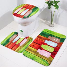 Wholesale Print Carpet - 3-piece suit carpet in bathroom anti slip rug super soft floor mat printing graphics toilet mat christmas