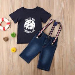 2019 camicia di pantaloni della bretella delle ragazze 2018 Neonati maschi ragazze T-shirt + bretelle pantaloni jeans denim pantaloni abiti kid boy girl abbigliamento per bambini vestiti 6M-4Y sconti camicia di pantaloni della bretella delle ragazze